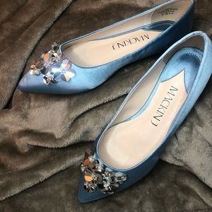Blue Satin Vintage Style Sequin Ballet Flat